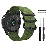 MoKo Band for Garmin Fenix 3 Watch, Fine Woven Nylon Adjustable Replacement Strap with Connecting Rod for Fenix 3/Fenix 3 HR/Fenix 5X/5X Plus/Descent mk1, Double Buckle Ring, Black