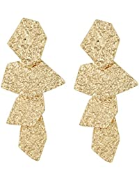 Gold Dangle Earrings Circle Ring Links Statement Earrings for Women
