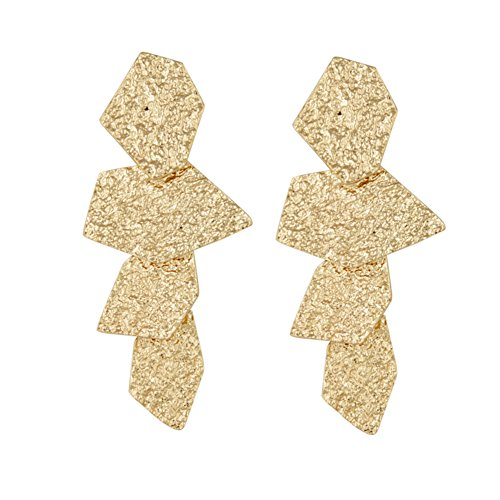 Geerier Gold Statement Earrings Irregular Geometric Earrings for Girls ()