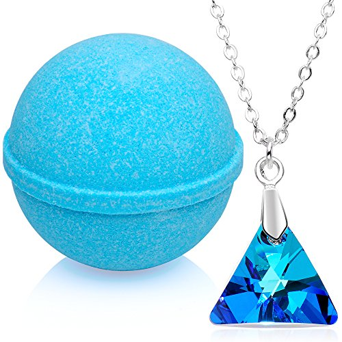 Bath Bomb with Necklace Created with Swarovski Crystal Extra Large 10 oz. Made in USA
