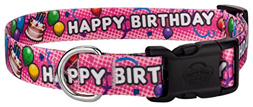 Country Brook Petz Deluxe Pink Happy Birthday Dog Collar - Large