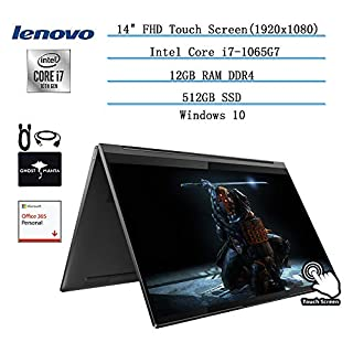 """2020 Newest Lenovo Yoga 2-in-1 Convertible 14"""" FHD Touch-Screen Laptop, Intel i7-1065G7(Up to 3.9GHz,Beat i9 8950HK), 12GB RAM, 512GB SSD, WiFi, Win10 w/Ghost Manta Accessories + Office365 Personal"""