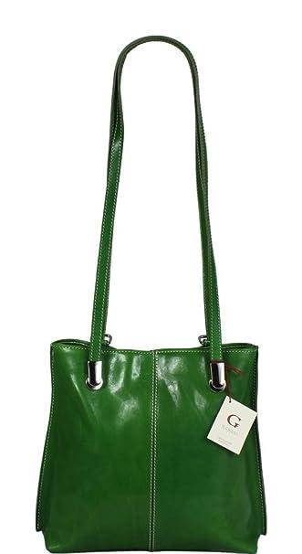 e380efa260963 Schöne praktische Leder Grüne Handtasche aus Leder Dora Verde über die  Schulter
