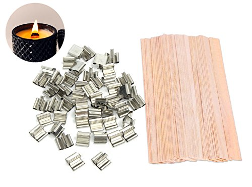 80 Pieces Natural Hand Cut Wood Wicks for Candles Making and Candle DIY, 5″