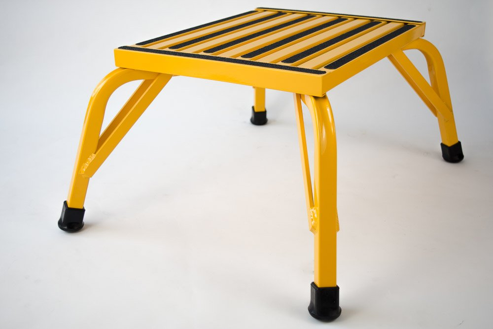 Safety Step Aluminum Industrial Step Non-Slip 15''x19'' Platform 1000lb Capacity - Safety YELLOW - Self-leveling Anti-Tip Design, Will not Corrode - (12'' High)
