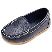 LONSOEN Toddler/Little Kid Boys Girls Soft Synthetic Leather Loafer Slip-On Boat-Dress Shoes/Sneakers,Deep Blue,SHF103 CN22