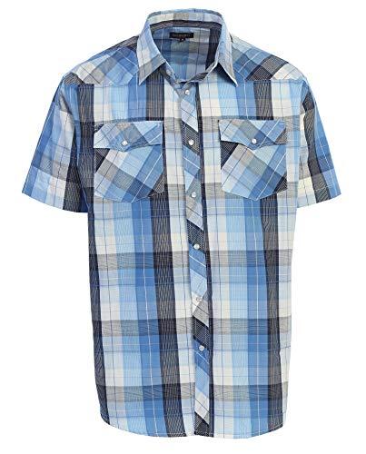 3c787d68 Gioberti Men's Plaid Western Shirt, Blue/Striped Band, Medium