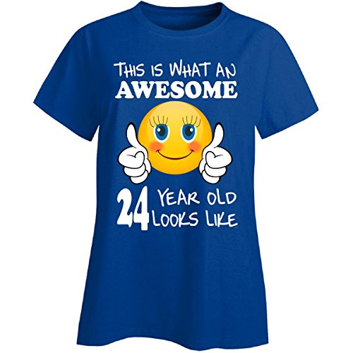 Emoji Birthday 24th Birthday Presents Woman 24 Year Old Gift - Ladies T-shirt (Birthday Presents For 24 Year Old Woman)