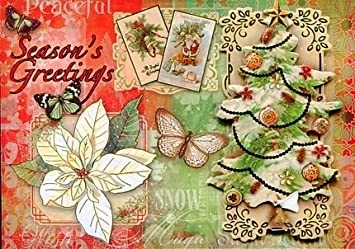 punch studio 95624 greeting cards christmas tree poinsettia butterflies die cut gold embellished