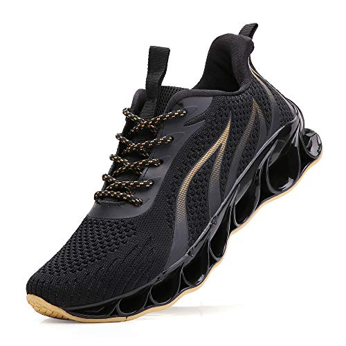SKDOIUL Jogging Shoes for Men mesh Breathable Comfort Sport Athletic Running Walking Shoes Fashion Sneakers Casual Tennis Trainers Black Gold Size 9.5 (Best Sport Shoes For Walking)