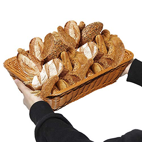 15.7'' Woven Bread Basket for Serving Breads Fruits Vegetables Poly-Wicker Tabletop Baskets Restaurant Serving Utensil,Attractive Table Setting for Holiday Dining