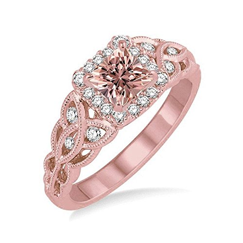 1,25 Carat Princess cut Morganite y diamante anillos de boda para mujeres en 14 K oro rosa Morganite y diamante anillo de compromiso: Amazon.es: Joyería