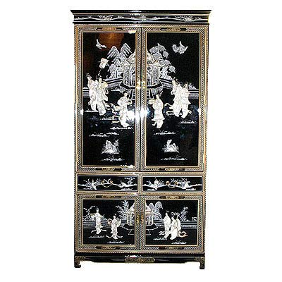 Oriental Furnishings Oriental Armoire in Black with Mother of Pearl Inlays