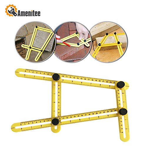 Amenitee Ultra Nook Scale Ruler-Easy Angle Ruler-Multi Angle Measuring Tool-With Unique Line Level-Embedded ABS Bolts and Nuts-Angleizer Template Tool(Yellow)