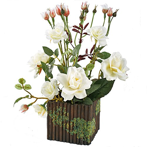 GTidea Artificial Silk Rose Potted Plants Fake Bonsai Flower in Wooden Planter Pot for Home Kitchen Tabletop Forcer Office Desktop Decorations