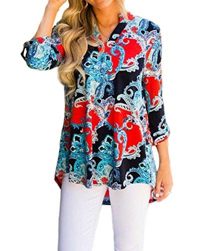 Manches T Shirts Elgante Rouge et Hauts Lache Shirts Tunique Longues Fashion Imprim Blouse Tops Femmes Chemisiers Automne Hiver Casual F0qxvPq