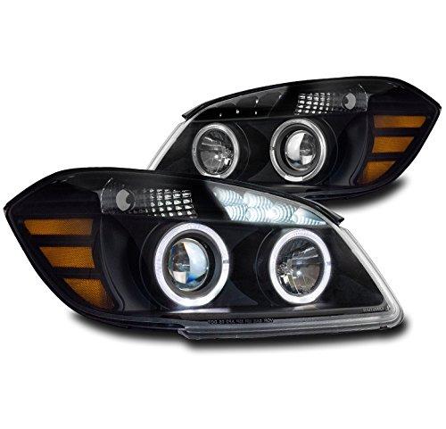 ZMAUTOPARTS 2005-2010 Chevy Cobalt / 2007-2009 Pontiac G5 Halo LED Black Projector Headlights Lamps