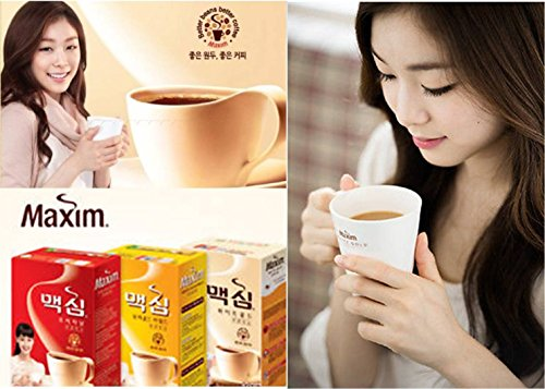 Stick Combination (Korean Maxim White Gold/Mocha Gold Mild/Original Instant Coffee Mix Variety Sample Combo Combination 15 Sticks)
