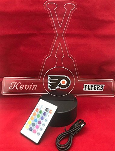 (Flyers Handmade Acrylic Personalized Flyers Hockey Sticks Light Up Light Lamp LED, Our Newest Feature - It's Wow, Comes with Remote,16 Color Options, Dimmer, Free Engraved, Great Gift)