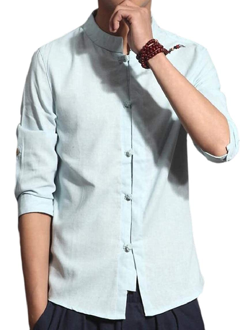 Yayu Mens 3//4-Sleeve Linen Slim Stand Collar Chinese Style Dress Shirts