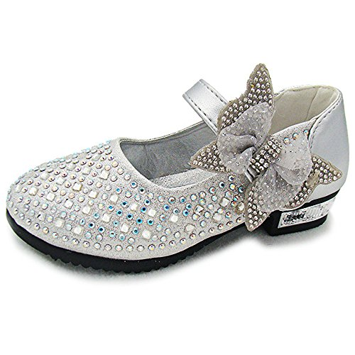 YING LAN Little Big Girl Glitter PU Leather Mary Jane Shoes Silver 29