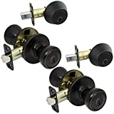 2 Pack of Pro-Grade Classic Entry Door Knob and Deadbolt Combo Sets, Oil Rubbed Bronze