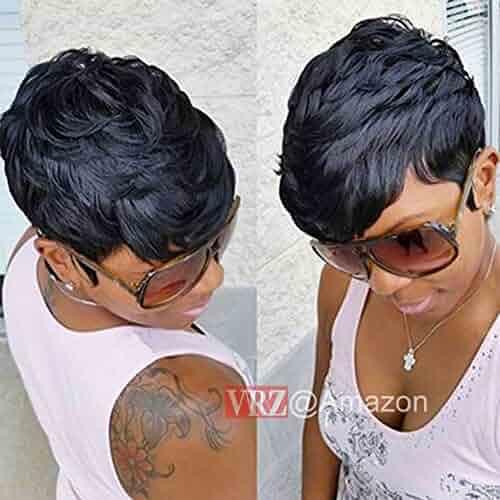 VRZ Slight Wavy Black Short Human Hair Wigs Color 1B(8815A)