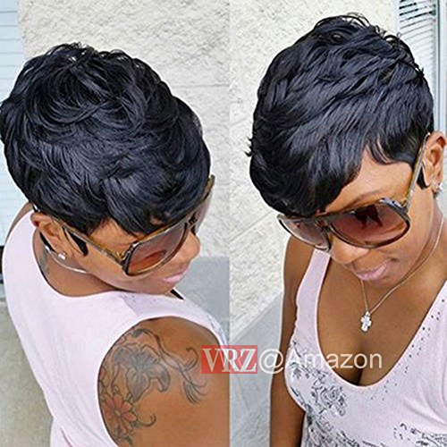 VRZ Slight Wavy Black Short Human Hair Wigs Color 1B(8815A)
