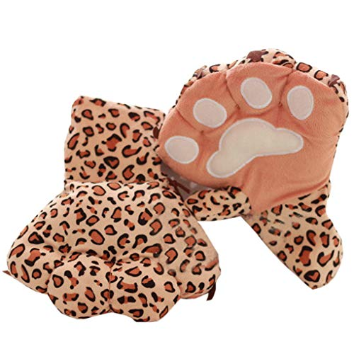 Halloween Costume Gloves, C.A.Z Exaggerated Fuzzy Warm Wild Animal Plush Gloves Tiger Bear Leopard Paw Cat Claw Hand -