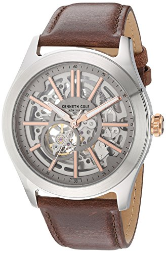 Kenneth Cole New York Men's Automatic Stainless Steel and Leather Dress Watch, Color:Brown (Model: 10030814) (Automatic Tonneau Watch)