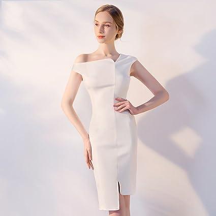 Vestido de noche Vestido Sección Corta Mini Vestido Mujer Verano Simple Hombro Resbaladizo Slim Partes Dama