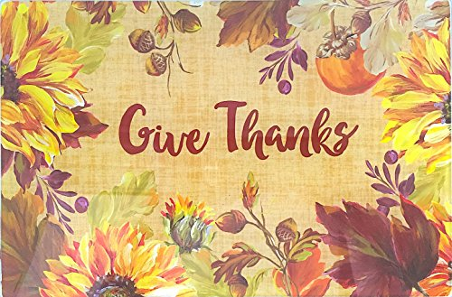 Decorative Fall Autumn Glass Kitchen Cutting Board: Give Thanks Message, Country Floral Harvest Design, Small (Blocks Thanks Give)