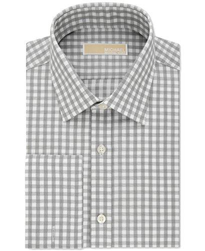Michael Michael Kors Mens Classic-Fit Non-Iron French Cuff Dress Shirt (16 Neck 32/33 Sleeve, Dark Grey - Free Return Kors Michael