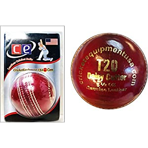 CE T20 Daisy Cutter Leather Cricket Ball – 4 Piece Leather Seasoned Ball by Cricket Equipment USA 2016 (Red)