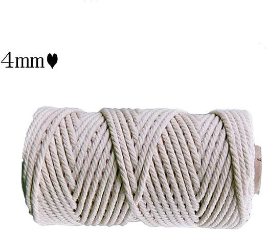 ZHWNGXO Macrame cordón de 4 mm, 50m / 100m Natural algodón ...