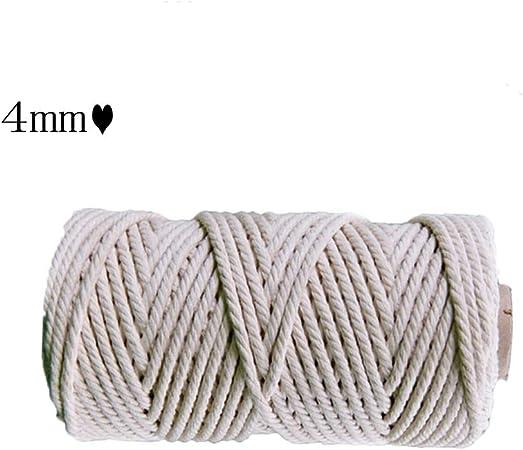 ZHWNGXO Macrame cordón de 4 mm, 50m / 100m Natural algodón Trenzado Cuerda Hecha a Mano DIY/Tejido/decoración/Strapping Suave/no irrita la Piel (Size : 50m): Amazon.es: Hogar