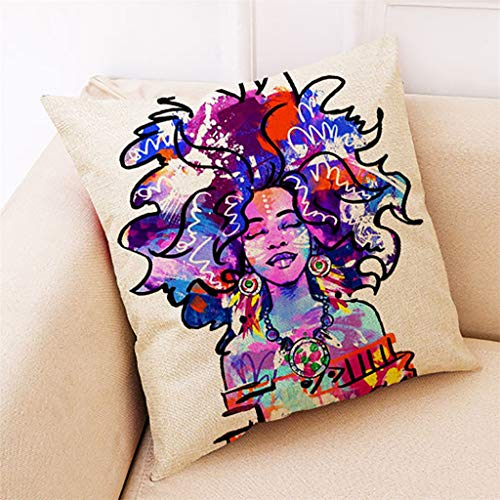 (Throw Pillow Covers, Fulijie Cushion Cover Pillow Case with African Women Print Home Decor for Couch Sofa Bed 18X18 Inch )