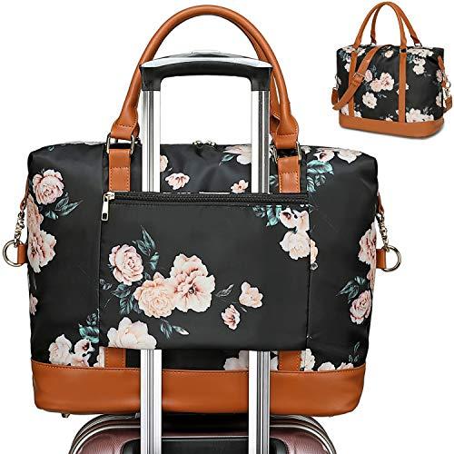 Women Weekender Bag Carry on Travel Duffle Tote in Trolley Handle