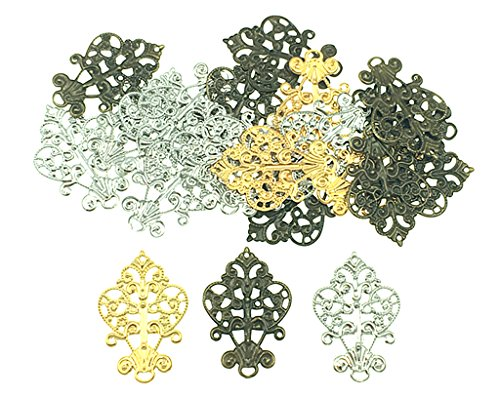 - Filigree Wrap Charm Pendant Connector,Metal Laminate Decoration Supplies for DIY Hairpin Headwear Earring Costume Jewelry Making Findings(30pcs with Silver,Bronze and Gold Colors)
