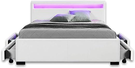 Home Deluxe Led Bett Mit Schubladen Nube Weiss 180 X 200 Cm