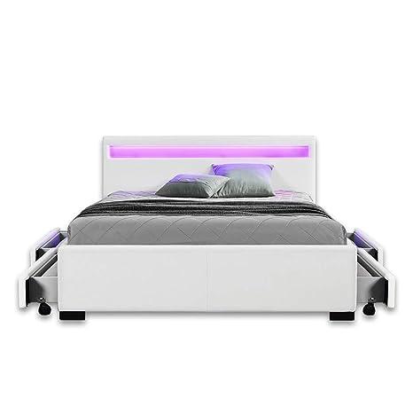 Home Deluxe - LED Bett mit Schubladen - Nube weiß - 180 x 200 cm ...