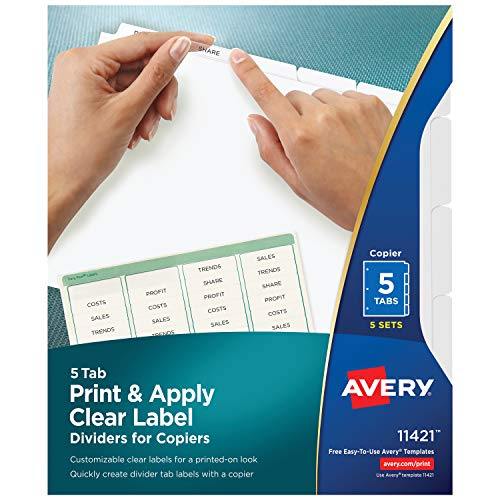 Avery 5-Tab Binder Dividers, Easy Peel Clear Labels for Copiers, Index Maker, White Tabs, 5 Sets (11421)