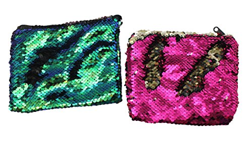 Lot of 2 Mermaid 2-Color Reversible Sequin Bag - Sensory Fidget Toy Pouch (2 Input Tray)
