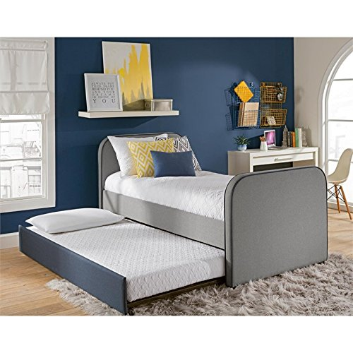 DHP Jesse Twin Kids Bed with Trundle in Gray Linen by DHP