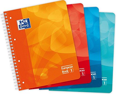 Oxford 400080695European Book Notebook Wirebound Blue/Turquoise/Orange/Pink