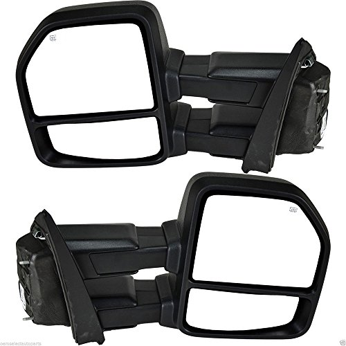 VIOJI 1 Pair Power Heated Manual Telescoping and Folding Side Turn Signal Light Black Housing Spotter Glasses Towing Mirrors for 15-18 Ford F-150 8 Jacks