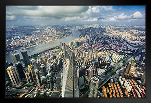(Aerial View Shanghai World Financial Center and Shanghai Skyline Photo Art Print Framed Poster 20x14 inch)