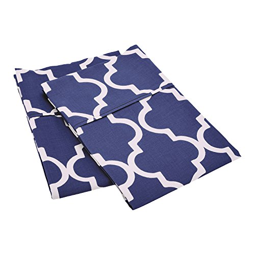 Superior 100% Cotton Trellis Geometric Bedding, Pillowcase Set of 2, Soft and Breathable Cotton Bed Set, 300 Thread Count - Standard, Navy Blue (Pattern Standard Pillowcase)