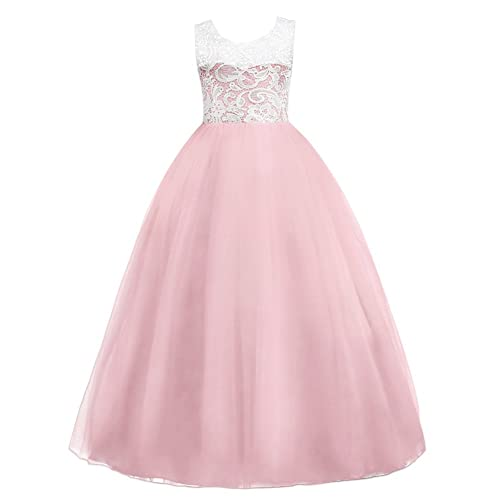 IBTOM CASTLE Girls Tulle Dresses 7-16 Flower Lace Pageant Party Fall Wedding Floor