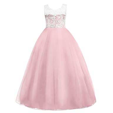 e8ff345efc3 IWEMEK Fille Robe de Princesse en Dentelle Demoiselle d honneur Enfants de  Soirée Mariage Carnaval